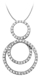 LoveBrightJewelry Cubic Zirconia Triple Circle Pendant in Sterling Silver 0.75 CT TGW,Jewelry Gift for Women