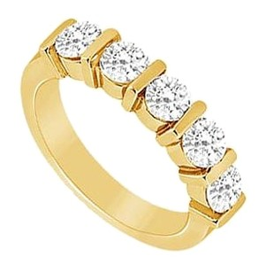 LoveBrightJewelry Cubic Zirconia Wedding Band 18K Yellow Gold Vermeil 0.25 CT CZs