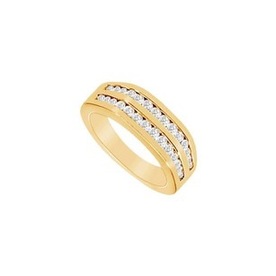 LoveBrightJewelry Cubic Zirconia Wedding Band 18k Yellow Gold Vermeil 0.50 Ct Czs