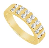 LoveBrightJewelry Cubic Zirconia Wedding Band 18K Yellow Gold Vermeil 1.00 CT CZs