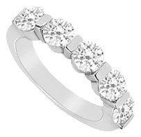 LoveBrightJewelry Cubic Zirconia Wedding Band Sterling Silver 0.25 CT CZs