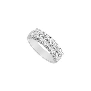 LoveBrightJewelry Cubic Zirconia Wedding Band Sterling Silver 0.60 Ct Czs