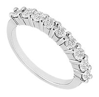 LoveBrightJewelry Cubic Zirconia Wedding Band Sterling Silver 1.00 CT CZs