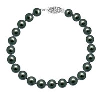 LoveBrightJewelry Cultured Black Akoya Pearl Bracelet 14K White Gold 7 MM