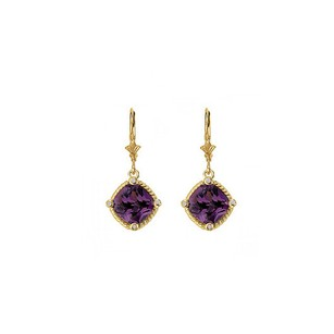 LoveBrightJewelry Cushion Cut Amethyst Bezel Set CZ Earrings Gold Vermeil
