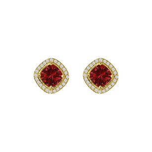 LoveBrightJewelry Cushion Cut Ruby CZ Rhombus Design Square Stud Earrings