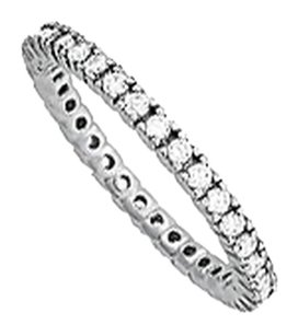 LoveBrightJewelry CZ 1 Row Eternity Ring in White Rhodium over Sterling Silver
