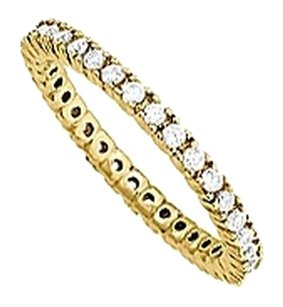 LoveBrightJewelry CZ 1 Row Eternity Ring in Yellow Rhodium over Sterling Silver