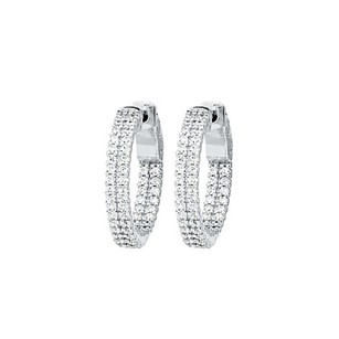 LoveBrightJewelry Cz 21mm 2 Sided Inside Out Hoop Earrings In White Rhodium Over Sterling Silver