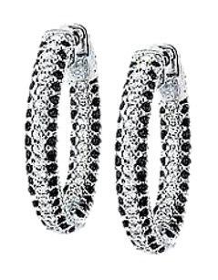 LoveBrightJewelry CZ 25mm Black and White Inside Out Hoop Earrings in Black Rhodium over Sterling Silver