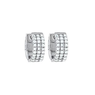 LoveBrightJewelry Cz 3 Row Petite Vault Lock Earrings In White Rhodium Over Sterling Silver