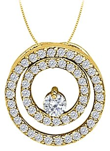 LoveBrightJewelry CZ Double Circle Pendant in Yellow Gold Vermeil over Sterling Silver 0.50 CT TGW,Jewelry Gift