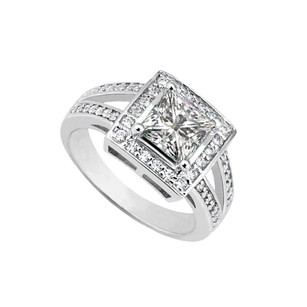 LoveBrightJewelry Cz Halo Engagement Rings In Sterling Silver 1.5 Ct Tgw
