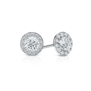 LoveBrightJewelry CZ Halo Stud Earrings in Sterling Silver 2.00.ct.tw