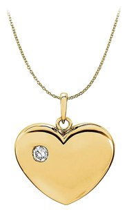 LoveBrightJewelry CZ Heart Pendant in 18K Yellow Gold Vermeil with Chain