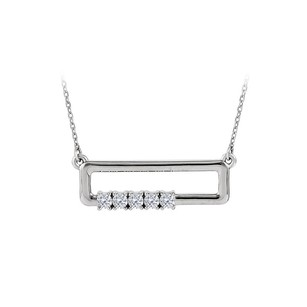 LoveBrightJewelry CZ Rectangle Necklace For Mother in 925 Sterling Silver