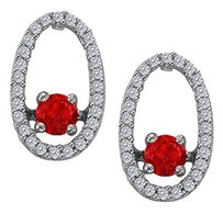 LoveBrightJewelry Dancing Diamonds Earrings with Ruby and CZ in 925 Sterling Silver