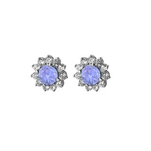 LoveBrightJewelry December Birthstone Tanzanite with CZ Floral Earrings