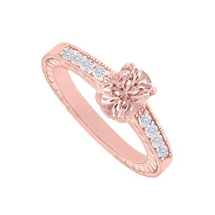LoveBrightJewelry Diamond Accents Morganite Rose Gold Engagement Ring