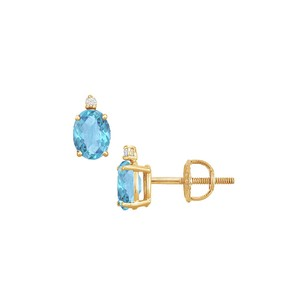 LoveBrightJewelry Diamond and Blue Topaz Stud Earrings 14K Yellow Gold 2.04 CT TGW