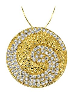 LoveBrightJewelry Diamond Circle Fancy Fashion Pendant in 14K Yellow Gold 0.50 CT TDW