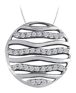 LoveBrightJewelry Diamond Circle Fashion Pendant in 14K White Gold 0.50 CT TDW