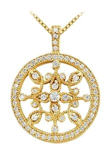 LoveBrightJewelry Diamond Floral Circle Pendant 14K Yellow Gold 0.66 CT Diamonds