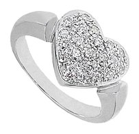 LoveBrightJewelry Diamond Heart Fashion Ring in 14K White Gold 0.66 Carat Diamonds