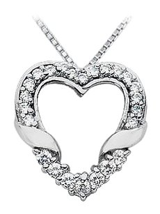LoveBrightJewelry Diamond Heart Pendant 14K White Gold 0.65 CT Diamonds