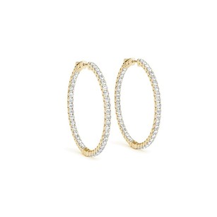 LoveBrightJewelry Diamond Hoop Earrings for Women in 14K Yellow Gold 1.00 CT TDW April B