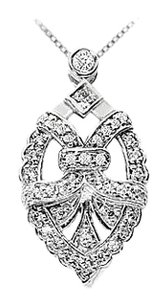 LoveBrightJewelry Diamond Pendant 14K White Gold 0.50 CT Diamonds
