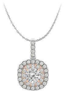 LoveBrightJewelry Diamond Pendant White and Rose Gold Incredibly Fabulous