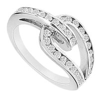 LoveBrightJewelry Diamond Ring 14K White Gold 0.55 CT Diamonds