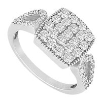 LoveBrightJewelry Diamond Ring 14K White Gold 0.75 CT diamonds