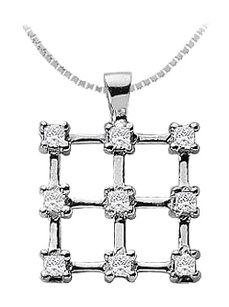 LoveBrightJewelry Diamond Square Pendant 14K White Gold 0.45 CT Diamonds