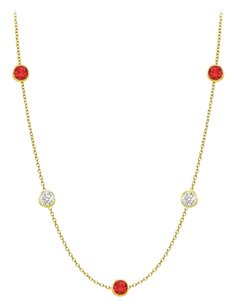 LoveBrightJewelry Diamonds By The Yard GF Bangkok Ruby and CZ Necklace 10.00 ct.tw