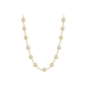 LoveBrightJewelry Diamonds By The Yard Necklace in 14K Yellow Gold Bezel Set 2 ct.tw