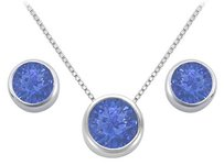 LoveBrightJewelry Diffuse Sapphire Pendant and Stud Earrings Set in Sterling Silver 2ct