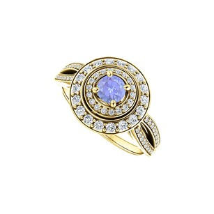 LoveBrightJewelry Double Halo Intro Curve Split Shank Tanzanite Cz Ring