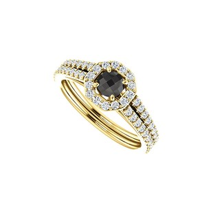 LoveBrightJewelry Double Row Cz Black Onyx Halo Ring In 18k Gold Vermeil