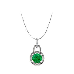 LoveBrightJewelry Emerald and CZ Bail Round Pendant in 14K White Gold