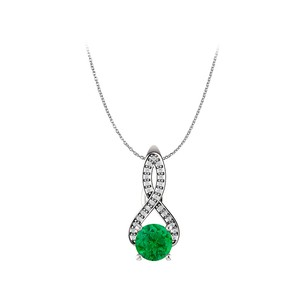 LoveBrightJewelry Emerald and CZ Togetherness Freeform Pendant in Gold