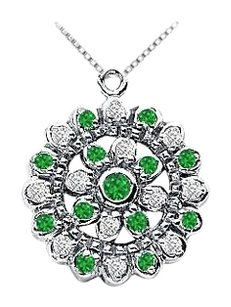 LoveBrightJewelry Emerald and Diamond Flower Pendant 14K White Gold 0.50 CT TGW