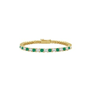 LoveBrightJewelry Emerald and Diamond Tennis Bracelet with 3.00 CT TGW on 14K Yellow Gol