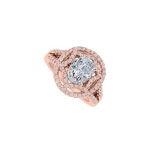 LoveBrightJewelry Exceptionally Designed Oval Cz Halo Engagement Ring In