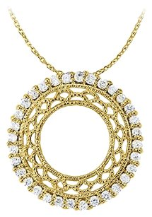 LoveBrightJewelry Extremely Artistic Diamonds Pendant in 14K Yellow Gold