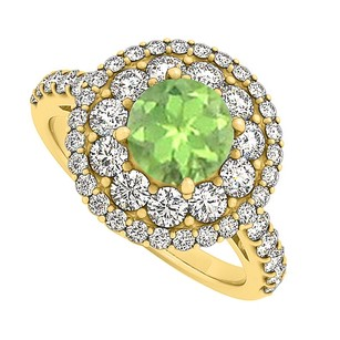 LoveBrightJewelry Fab Design Peridot And Cubic Zirconia Ring 2.00 Tgw