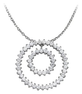 LoveBrightJewelry Fab Gift Cubic Zirconia Double Circle Pendant in Sterling Silver with Cute Free 16 Inch Chain