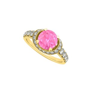 LoveBrightJewelry Fab Gift Pink Sapphire And Cz Engagement Ring 1.75 Tgw