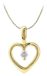 LoveBrightJewelry Fabulous Open Heart Diamond Pendant in 14K Yellow Gold